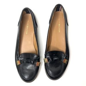 Tommy Hilfiger Leather Logo Knot Black Loafers
